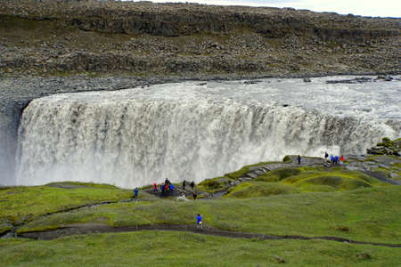 Beautiful view of Dettifoss, a waterfall in Vatnajokull National Park in Northeast Iceland during the summer