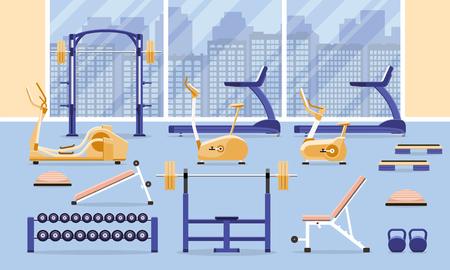 Sport fitness gym interior workout equipment. Flat vector illustration. Vektorové ilustrace