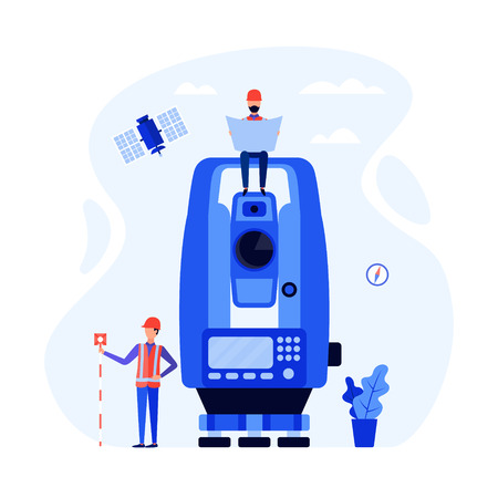 Concept surveyors, geodesists and land engineers using the total station, theodolite, measuring instruments, satellite. Vector flat illustration.