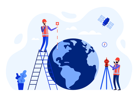 Concept surveyors, geodesists and land engineers using the total station, theodolite, measuring instruments, satellite, globe. Vector flat illustration.