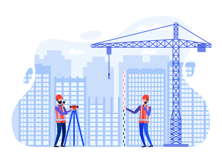 Concept surveyors conduct surveying at the construction site using the total station, theodolite, measuring instruments. Vector flat illustration.