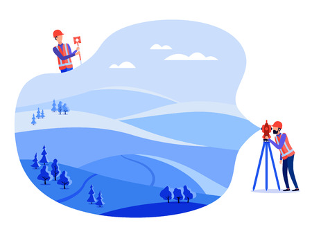 Geodeci koncepcyjni, inżynierowie katastralni i geodeci wykonują pomiary geodezyjne na lądzie, w terenie, przy użyciu teodolitu i sprzętu geodezyjnego. Płaskie ilustracji wektorowych. Ilustracje wektorowe