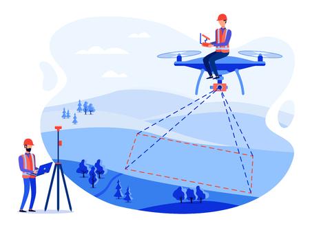 Los ingenieros catastrales conceptuales, topógrafos y cartógrafos realizan mediciones geodésicas utilizando un avión no tripulado, un helicóptero. Vector ilustración plana.