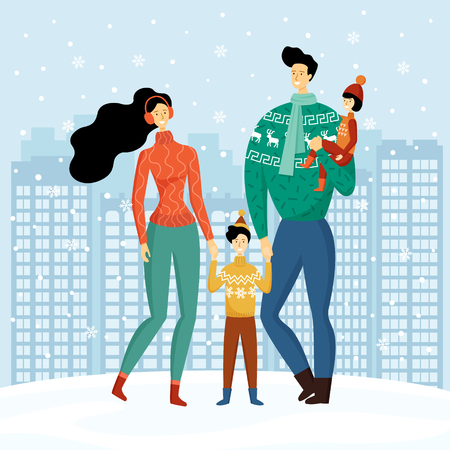 Happy family, cute smiling characters, mother, father, son and daughter holding hands and walking in snowy winter city, houses, skyscrapers, welcoming Christmas and New year. Flat vector illustration. 向量圖像