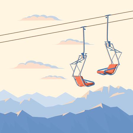 Le télésiège pour skieurs et snowboarders de montagne se déplace dans les airs sur une corde sur fond de montagnes enneigées d'hiver et de coucher de soleil. Plate illustration vectorielle. Vecteurs
