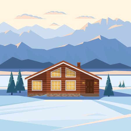 Winter mountain landscape with wooden house, chalet, snow, illuminated mountain peaks, river, fir trees, illuminated windows, sunset, dawn. Vector flat illustration.