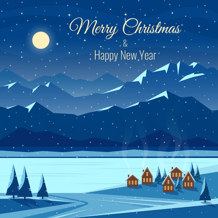 Winter night snow landscape with moon, mountains, hills, fir trees, cozy houses with lighted windows. Christmas and new year celebration. Greeting card with text. Flat vector illustration.