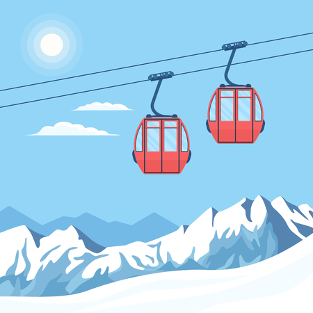 Red ski cabin lift for mountain skiers and snowboarders moves in the air on a cableway on the background of winter snow capped mountains and the shining sun. Vector flat illustration. Stock Illustratie