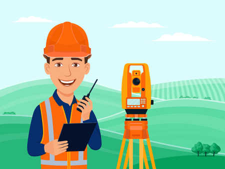 Surveyor, cadastral engineer, cartographer, cartoon smile character, theodolite, total station, surveying equipment. Summer landscape with green hills, fields and trees. Vector flat illustration. Ilustração