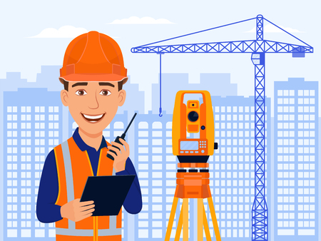 Surveyor, cadastral engineer, cartographer, cartoon smile character with total station and measurements equipment. City view, houses, construction crane. Vector flat illustration.