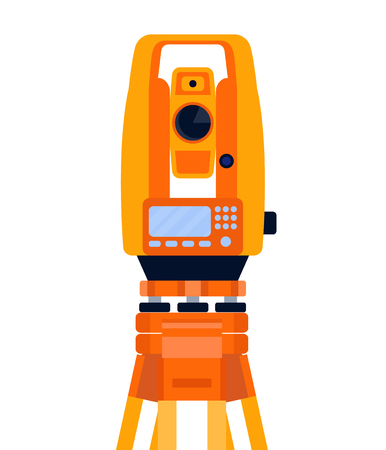 Tacheometer, theodolite and tripod, geodetic equipment, measuring instrument, isolated on white background. Vector flat style illustration.