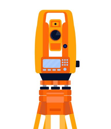 Taquímetro, teodolito y trípode, equipo geodésico, instrumento de medición, aislado sobre fondo blanco. Ilustración de estilo plano de vector.