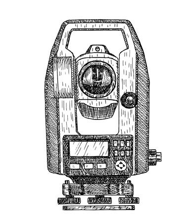 Ilustración de vector dibujado a mano de taquímetro. Equipo geodésico, instrumento de medición estilo grabado. Dibujo de teodolito aislado sobre fondo blanco. Ilustración de vector