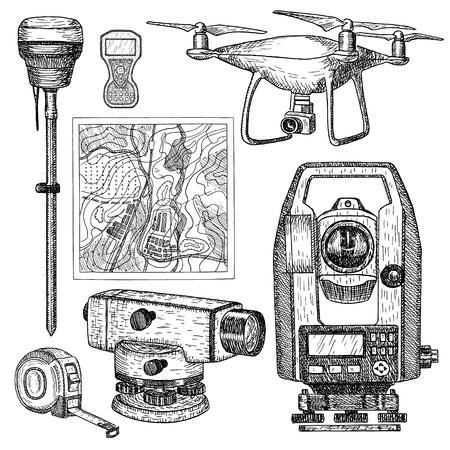 Geodätische Ausrüstung handgezeichnete Vektor-Illustration. Messgeräte im gravierten Stil. Theodolit, Tacho, Totalstation, Drohne, Wasserwaage, Kartenskizze isoliert auf weißem Hintergrund.