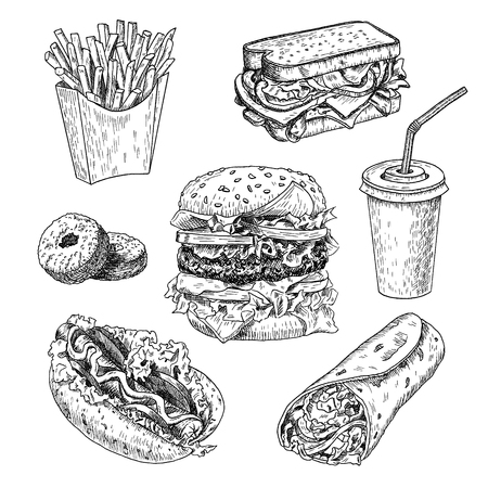 Fast food hand drawn vector illustration. Hamburger, french fries, sandwich, hot dog, doughnuts, burrito and cola engraved style, sketch isolated on white background.