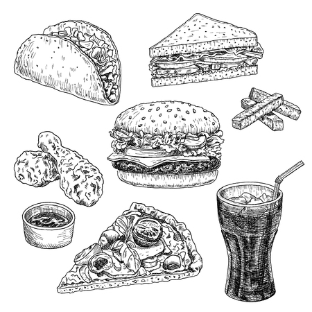 Fast food hand drawn vector illustration. Hamburger, cheeseburger, sandwich, pizza, chicken, taco and cola, engraved style, sketch isolated on white background.