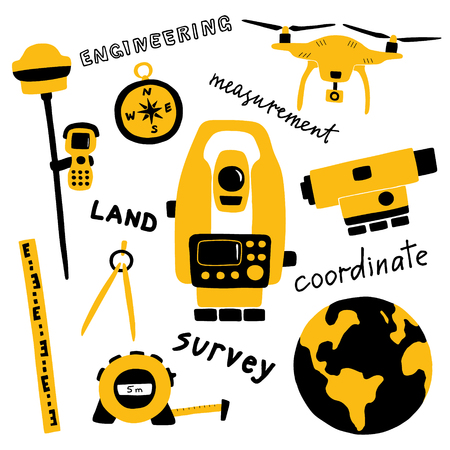 Geodetic measuring equipment, engineering technology for land area survey. Funny doodle hand drawn vector illustration. Isolated on white. Illustration