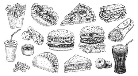 Fast food hand drawn vector illustration. Hamburger, cheeseburger, sandwich, pizza, chicken, taco, french fries, hot dog, doughnuts, burrito and cola engraved style, sketch isolated on white.
