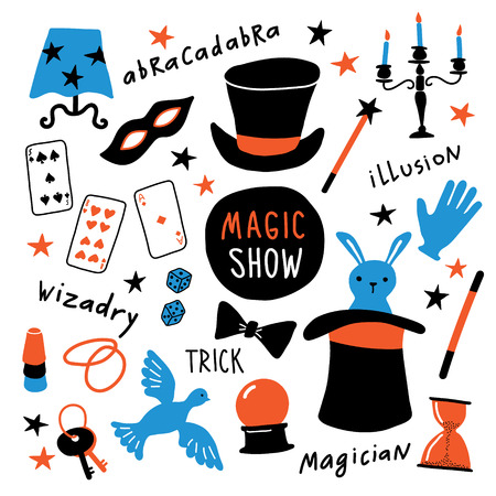 Magician equipment collection. Magic elements and symbols, illusionist tools for tricks. Funny doodle hand drawn vector illustration. Isolated on white.