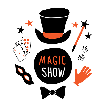 Magic show banner. Magician equipment, top hat, mask, cards, glove, magic wand, bowtie, illusionist performance. Funny doodle hand drawn vector illustration. Isolated on white.