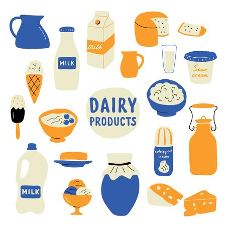 Milchprodukte-Set: Milch, Käse, Butter, Sauerrahm, Eis, Joghurt, Hüttenkäse, Schlagsahne. Lustige gezeichnete Vektorillustration des Gekritzels Hand. Nette Karikaturlebensmittelsammlung, getrennt auf Weiß. Vektorgrafik