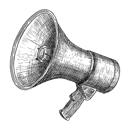 Megaphone, bullhorn sketch. Hand drawn vector illustration. Vintage engraved style. Isolated on white. Stock Vector - 124169962