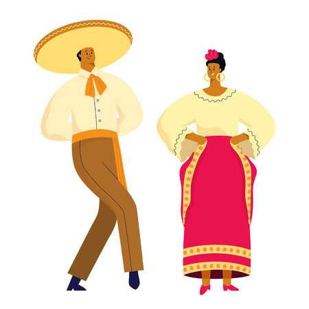 Mexican dancing couple in traditional costumes and symbols.  Vector illustration flat design. Isolated on white.