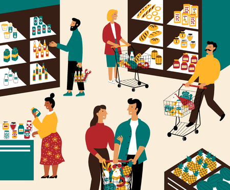 Men and women buying products at grocery store. Happy people with shopping carts purchasing food at supermarket. Customers in retail shop. Flat cartoon vector illustration. Illustration