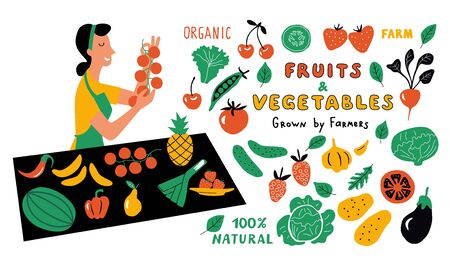 Fruits and vegetables funny doodle set. Cute cartoon woman, food market seller with healthy organic products. Hand drawn vector illustration with lettering. Isolated on white.