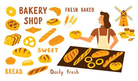 Bakery shop funny doodle set. Cute cartoon woman, food market seller with fresh bread. Hand drawn vector illustration with lettering. Isolated on white.