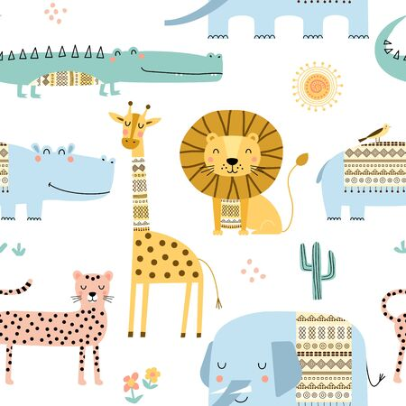 Seamless childish pattern with cute African animals, lion, elephant, hippo, giraffe,crocodile. Scandinavian style kids texture for fabric, wrapping, textile, wallpaper, apparel. Vector illustration. Foto de archivo - 129289796