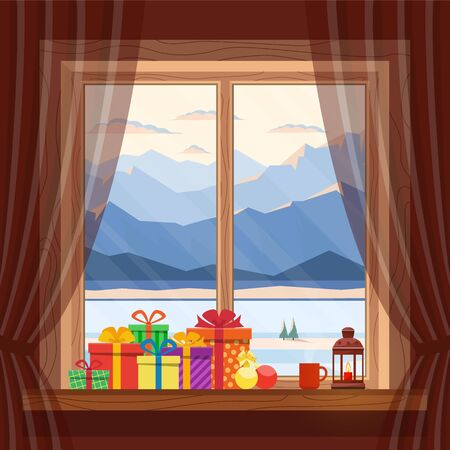 Christmas gifts on window in cozy home on background of morning and evening blue mountains, snow and river in winter, at dawn, sunset. Celebrating Christmas and New year. Vector flat illustration.