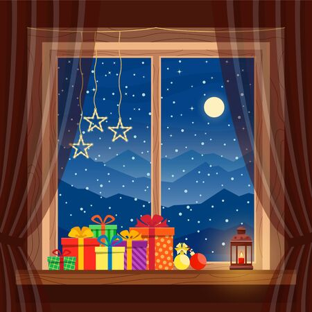 Christmas gifts on window with garlands, candle, lantern in cozy home on background of night blue mountains, snow and moon in winter, celebrating Christmas and New year. Vector flat illustration.