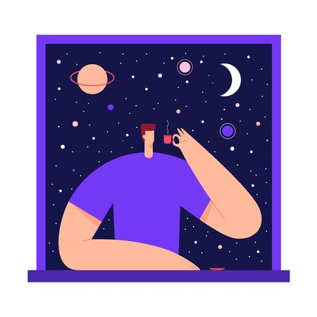 Man with cup of tea, coffee, in the window, enjoying the view of night starry sky and moon. Male modern character and space exploring. Flat vector illustration. Use in web project and applications.