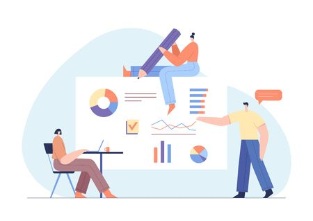 People interacting with charts and analysing statistics. Customer tracking software, data visualisation. Online survey concept with modern characters and web interface. Flat vector illustration.