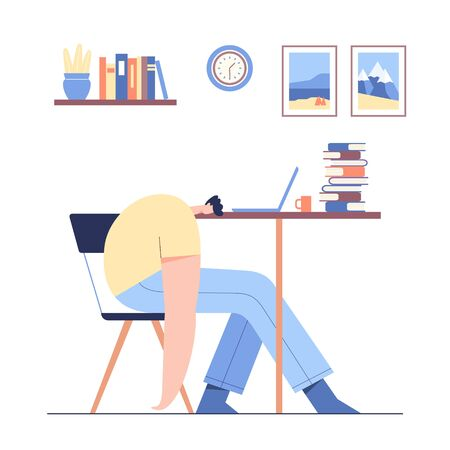 Man sleeping on the table. Tired male modern character working at laptop and hard learning. Student studying and preparing for examination. Flat vector illustration.
