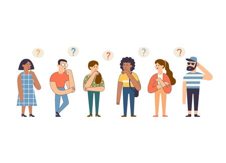 Group of cute thoughtful people. Cartoon hand drawn smart men and women thinking and solving problem. Funny pensive modern characters surrounded by thought bubbles. Flat vector illustration. Stock Illustratie