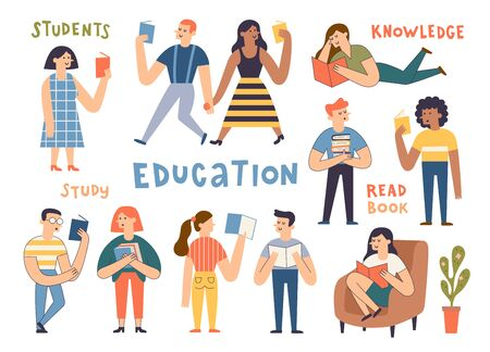 Group of cute reading people. Cartoon hand drawn students, book lovers, readers, modern literature fans. Funny characters studying, men and women preparing for examination. Flat vector illustration. 向量圖像