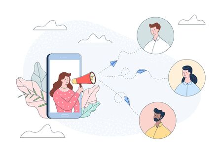 Woman character in smartphone shouting people in loudspeaker. Influence advertising promotion concept. Announcement in megaphone, business marketing communication. Referral flat vector illustration. Çizim