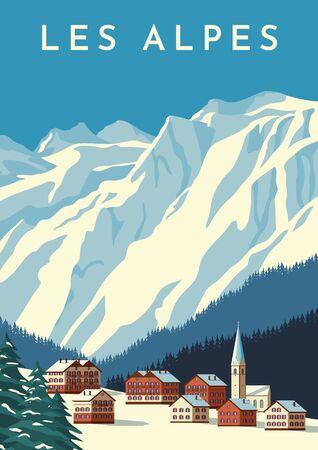 Los Alpes viajan cartel retro, banner vintage. Pueblo de montaña de Austria, paisaje invernal de Suiza. Dibujo a mano ilustración vectorial plana.