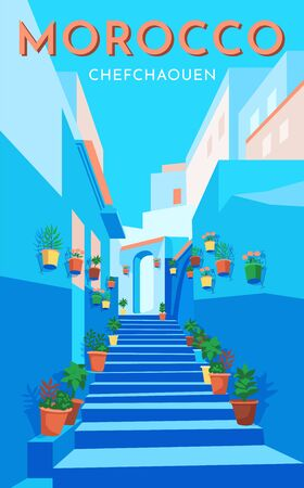 Morocco travel retro poster, vintage banner. Flower blue street in old city Chefchaouen. Hand drawing flat vector illustration. Standard-Bild - 131621980