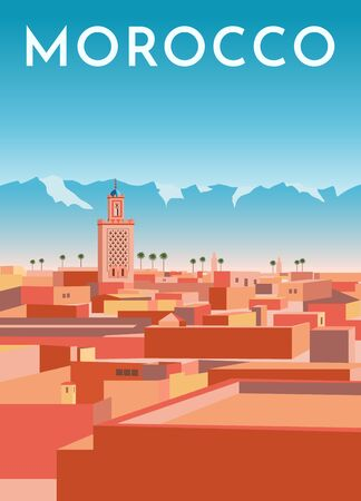 Morocco travel retro poster, vintage banner. Panorama of Marrakech city with red houses, mosque, blue mountains and sky. Hand drawing flat vector illustration. Standard-Bild - 131621981