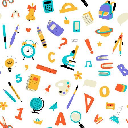 Seamless childish school pattern. Cute doodle kids texture for fabric, wrapping, textile, wallpaper, apparel. Vector flat funny illustration. Vector Illustratie