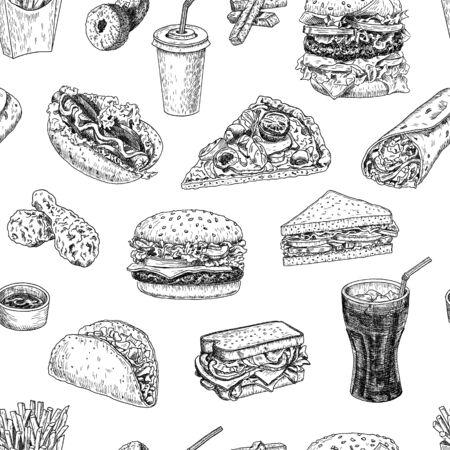 Seamless pattern with fast food in sketch style. Engraved hand drawn vector texture for fabric, wrapping, textile, isolated on white.