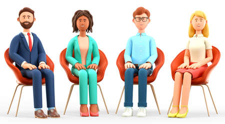 3D illustration of business team meeting. Happy multicultural people characters with their hands on their knees, sitting in chairs. Successful teamwork, group therapy, discussion and support session.