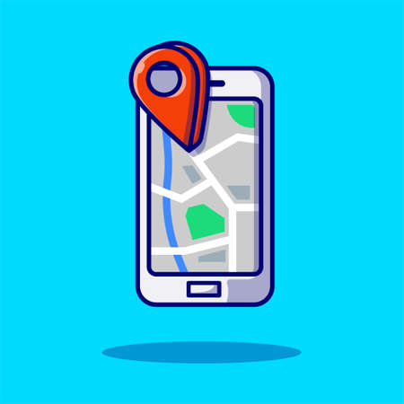Smart phone maps screen with location icon icon flat cartoon style illustration for web, landing page, banner, flier, sticker, ads, advertisement on blue background 向量圖像