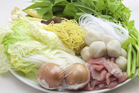 combinations: Sukiyaki, mixed vegetables, meat combinations are set on a plate. Stock Photo