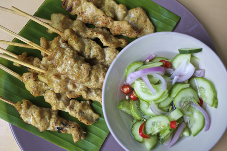 malaysia culture: Thai traditions food Pork Satay with Peanut Sauce