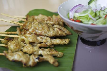 peanut sauce: Thai traditions food Pork Satay with Peanut Sauce
