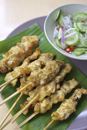 traditions: Thai traditions food Pork Satay with Peanut Sauce